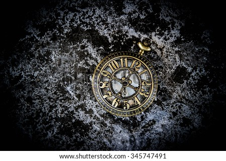 Vintage pocket watch on grunge background,Time concept - stock photo