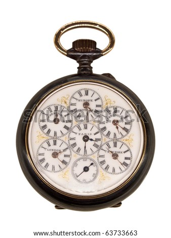 Vintage pocket watch representing different time zones (isolated on white background) - stock photo