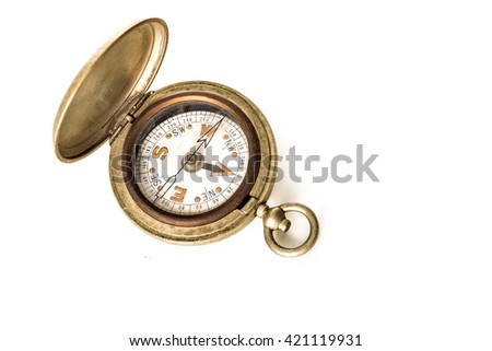 Vintage pocket watch style compass, isolated on white