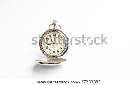 Vintage pocket watch. Symbols of classical time. Isolated on white. Copy space