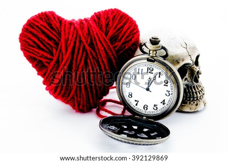 Vintage pocket watch with heart and skull on white background,Concept love and time - stock photo
