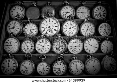 vintage pocket watches - stock photo