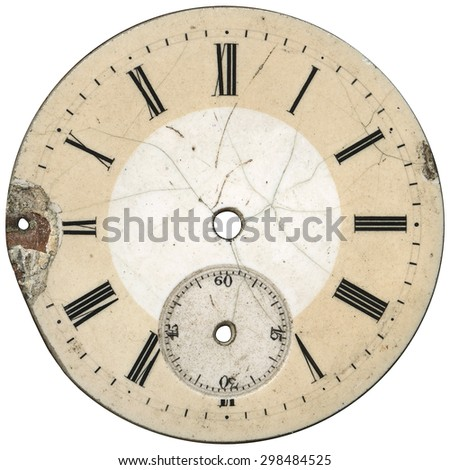 Vintage pocket watches - dial only - isolated on white - stock photo