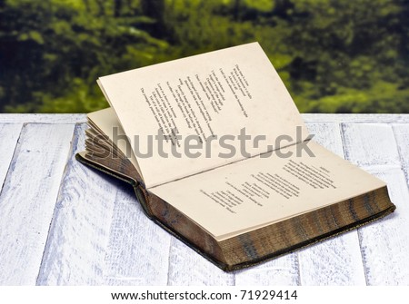 Vintage poetry book; lying on table against countryside background - stock photo