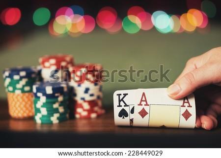 Vintage poker - stock photo