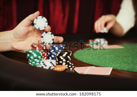Vintage poker / Vintage style photo from a poker table during play - stock photo