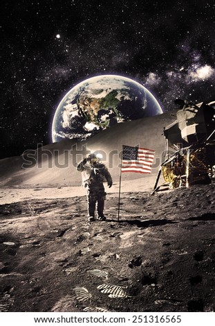 Vintage Polaroid -Astronaut with Flag On the Moon - Elements of this Image Furnished by NASA - stock photo