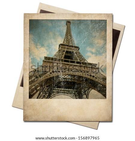 Vintage polaroid Eiffel tower instant photo - stock photo