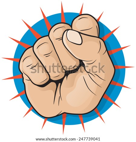 Vintage Pop Art Punching Fist Sign. Great illustration of Pop Art style punching up in the air.
