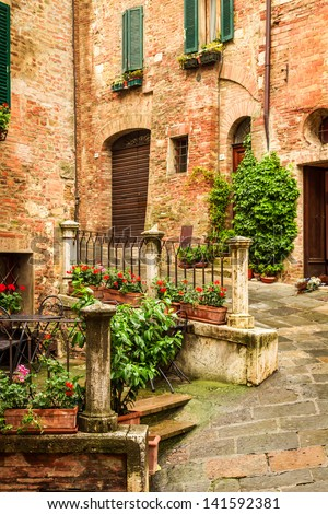 Vintage porch on the street in Italy - stock photo