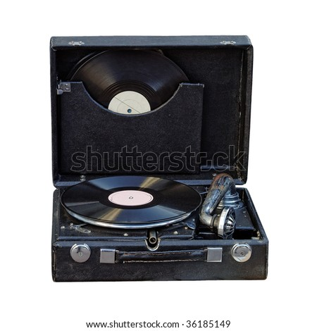 Vintage portable gramophone isolated on white with clipping path - stock photo