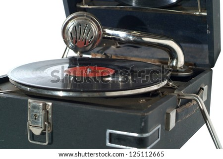 Vintage portable record player.  Isolated on the white - stock photo