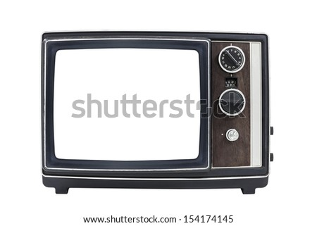 Vintage portable television with empty screen and clipping path.