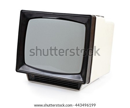 Vintage portable TV set isolated on white - stock photo