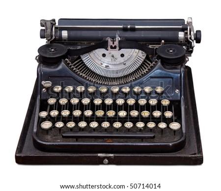 Vintage portable typewriter isolated on white - stock photo