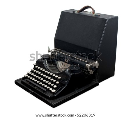 Vintage portable typewriter with case isolated on white. Clipping path included. - stock photo