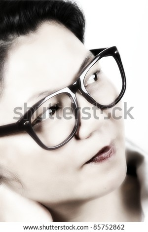 Vintage portraint of a woman with Retro Black eyeglasses