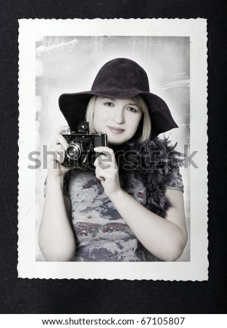 vintage portrait - stock photo