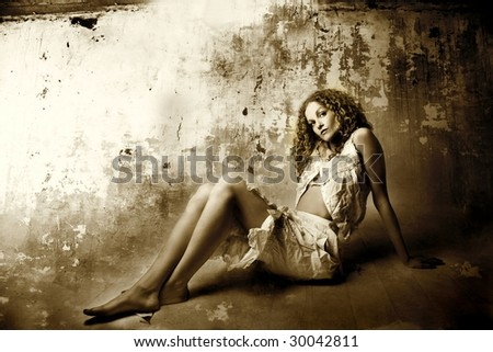 vintage portrait of a girl - stock photo