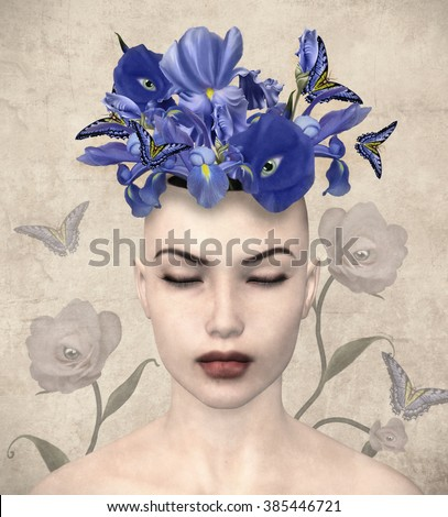 Vintage portrait of a woman with surreal flowers in her mind - stock photo