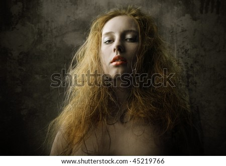 vintage portrait of attractive girl - stock photo