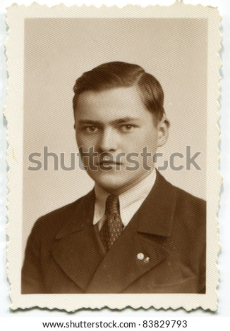 Vintage portrait of schoolboy (thirties) - stock photo