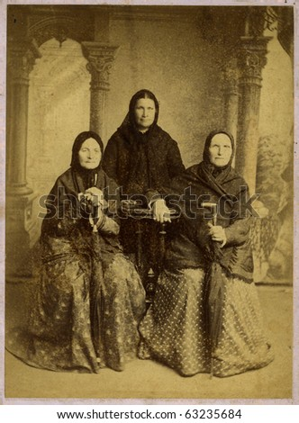 Vintage portrait of siblings three a sister,1914 year. - stock photo