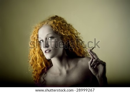 vintage portrait of woman smoking - stock photo