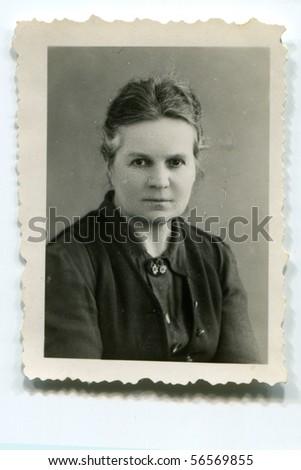 Vintage portrait of woman (thirties) - stock photo