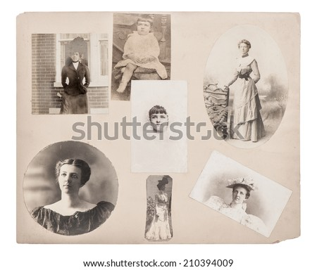 Vintage portrait of young woman, girl, baby from ca. 1860-1880. Family photo album. Typical for this period womans look and hairstyle. Growing up - stock photo