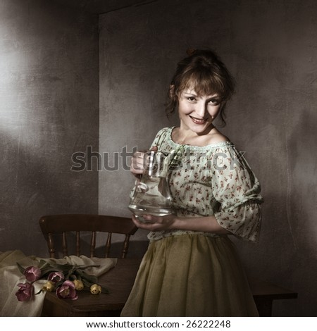 Vintage portrait of young woman with a jug - stock photo
