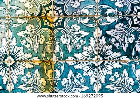 vintage portuguese tiles  - stock photo