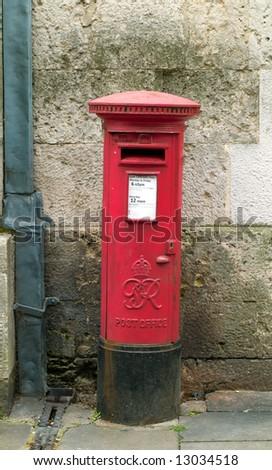 Vintage post-box in Oxford - stock photo
