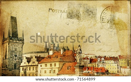 vintage post card series- cities- Prague - stock photo