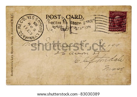 Vintage post card year 1905 - stock photo