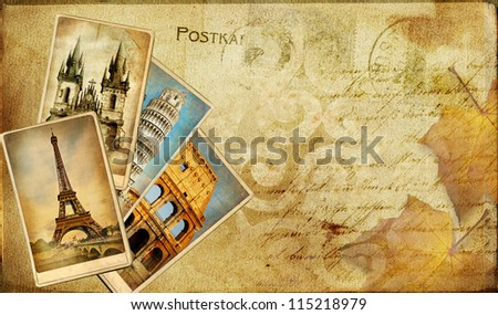 vintage post cards bavkgoiund with place for text or photo - stock photo