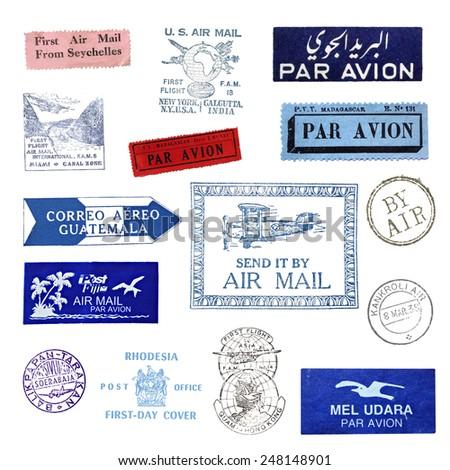 Vintage postage stamps - stock photo