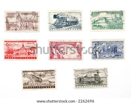 Vintage postage stamps from no longer existing country - Czechoslovakia (Ceskoslovensko). Former soviet block collectible. - stock photo