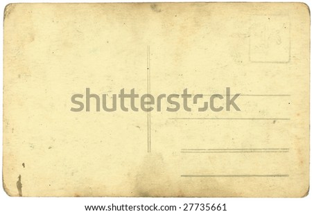 vintage postcard background isolated on white