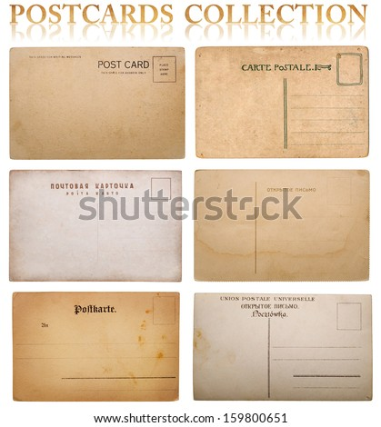 vintage postcard collection. Inscriptions on cards in Russian and Polish: open letter, postcard. - stock photo