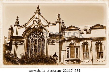 Vintage postcard depicting old architecture in Oxford, Oxfordshire, England. - stock photo