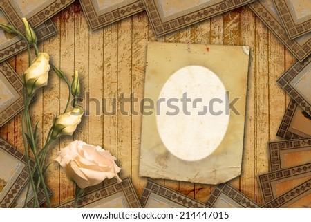 Vintage postcard for invitation with bunch of beautiful roses - stock photo