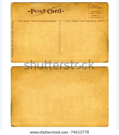 Vintage Postcard From Early 1900s Both Front And Blank Back - stock photo