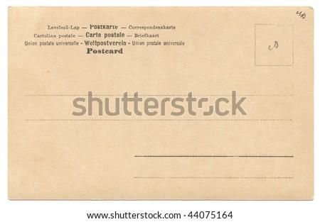 Vintage postcard isolated on white - stock photo