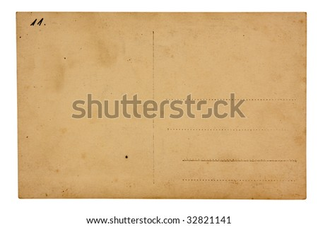 Vintage postcard, isolated on white.  Insert your text.