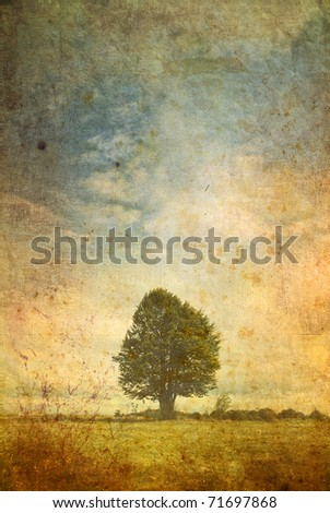 vintage postcard of a lonely tree - stock photo