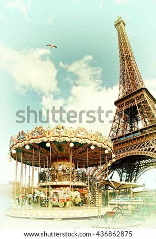Vintage postcard of Eiffel tower, Paris, France