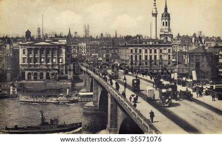 vintage postcard of London - stock photo