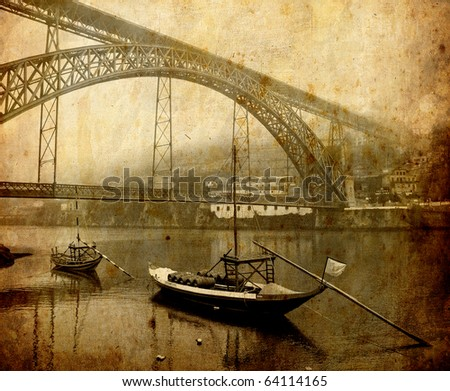 Vintage postcard of traditional boats at Douro river in Porto, Portugal - stock photo