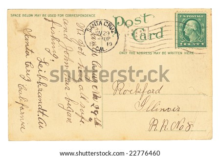 Vintage postcard sent from Santa Cruz, California. - stock photo